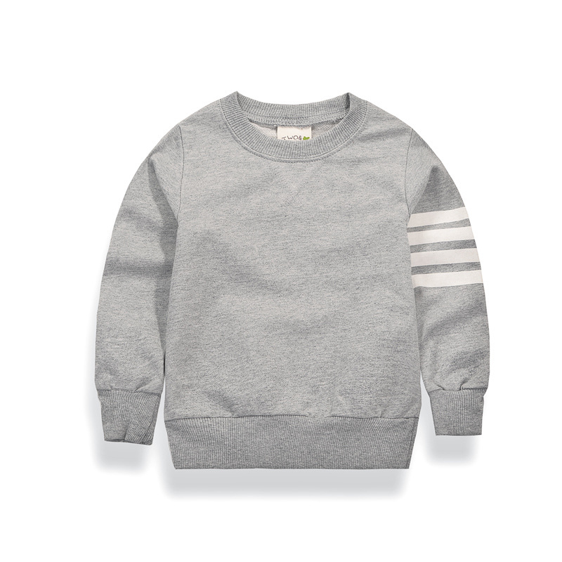 Boys Long Sleeve T-shirts 2017 New Spring Childrens Wear Baby Girls Terry T Shirt Color Grey Dark Blue 2-10 Years Kids Clothes