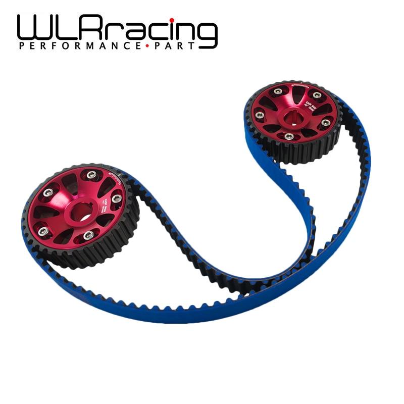 WLR RACING - HNBR Racing Timing Belt Blue+Aluminum Cam Gear Red FOR B16A 99-00 Civic Si 94-97 Del Sol VTEC DOHC TB1001B+6532R pqy racing hnbr racing timing belt blue aluminum cam gear red for toyota 1jz 1jzgte 1jz gte pqy tb1005b 6531r