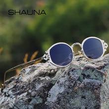 c472ddd9fe SHAUNA Ins Popular gótico ovalada pequeña Punk gafas de sol hombres Retro  Metal Steampunk gafas de sol de mujer