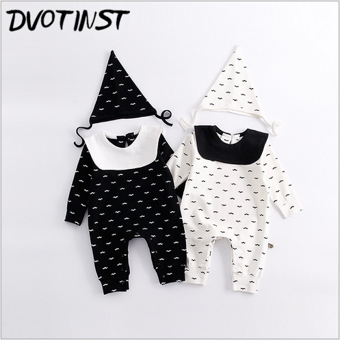 Baby Girls Boys Clothes Full Sleeves Clown Rompers+Hat Set Outfits Infant Toddler Jumpsuit Oversalls Cotton Clothing Costume baby girls rompers cotton baby clothes fruit infant jumpsuits hat 2pcs toddler girls clothing set 2017 newborn photography props