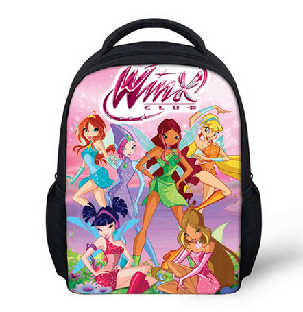 13 Inch Cartoon Winx Club Butterfly Princess Kids Backpack Kindergarten School Bag Children Printing Backpack Girls Mochila hot sale 10 style winx club backpack girls mochila escolar children school bag customized mochilas mujer kids free shipping b002