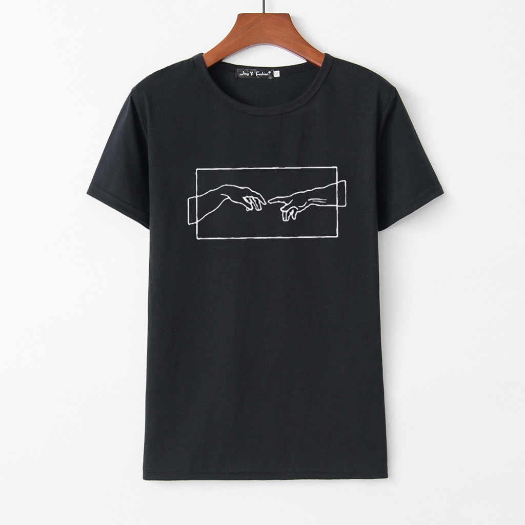 """Lato dziewczyna drukuj koszulka topy damskie 2019 nowy druku z krótkim rękawem z dekoltem w kształcie litery """"Slim"""" na co dzień mody koszulka poliestrowa Top camiseta"""