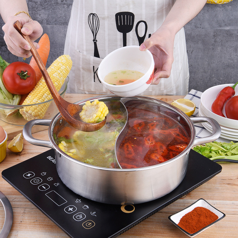 304 Stainless Steel Pot Two Flavor Hot Pot Christmas Food Containers Easily Heated Boiler Korean Restaurant Kitchen Utensils