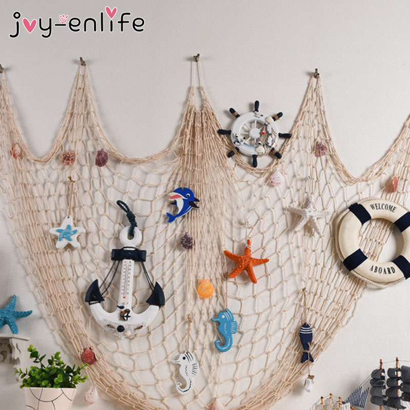 JOY-ENLIFE Mermaid Party Fishing Net 100x200m Seaside Beach Shell Party Door Wall Decor Home Decoration Nautical Decorative