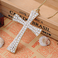 Rhinestone Infinity Cross Necklace For Women Gold Plated Chain Crucifix Necklaces Pendants Long Colliers Bijoux Chaine/Chocker