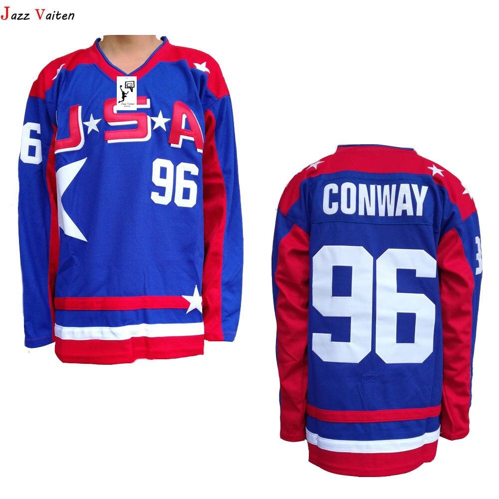 size 40 e24ba 54271 Jazz Vaiten Movie ICE Hockey jesey Christmas Black Friday Mighty Ducks 21  Dean Portman 44 Fulton Reed 96Charlie Conway USA Blue-in Hockey Jerseys  from ...