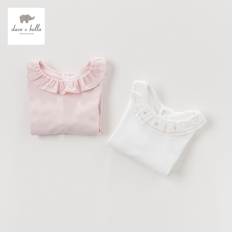 DB4239 dave bella autumn baby princess cotton t shirt kids clothes toddle tees girls pink ruffle tops kids t-shirt