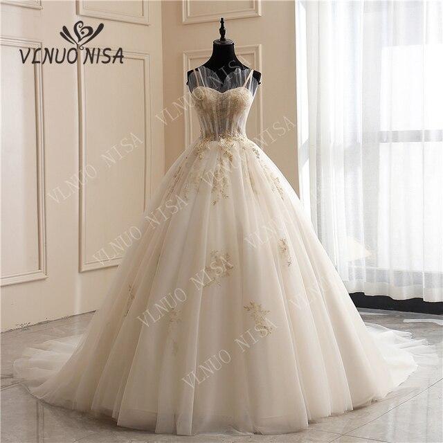 8 層ファッションシンプルな白のウェディングドレスレースアップリケ真珠ビーズ格安 vestidos デ noiva ブライダルドレスボールガウン 65