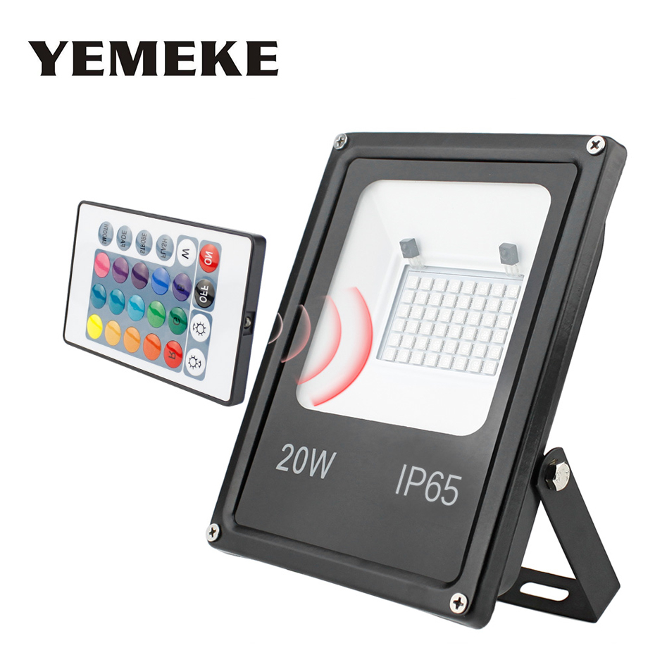 RGB LED Floodlight 20W 30W 50W RGB Flood Light With Remote Controller Reflector LED Outdoor Light IP65 AC220V Garden Lamp 50w 48 led rgb light module 8 series and 6 in parallel