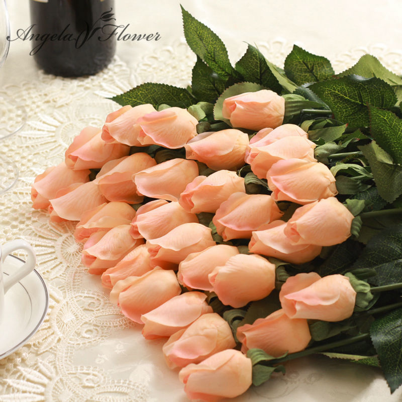 1pcs Real Touch rose Bud  Artificial silk wedding Flowers bouquet Home decorations for Wedding Party or Birthday Small size bud thumbnail