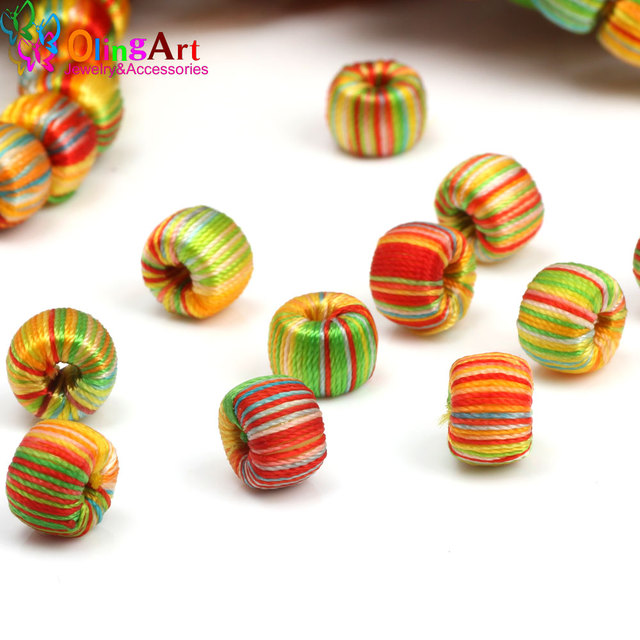 OlingArt Colorful lines braided rope beads 9mm 20pcs Small ball line ...