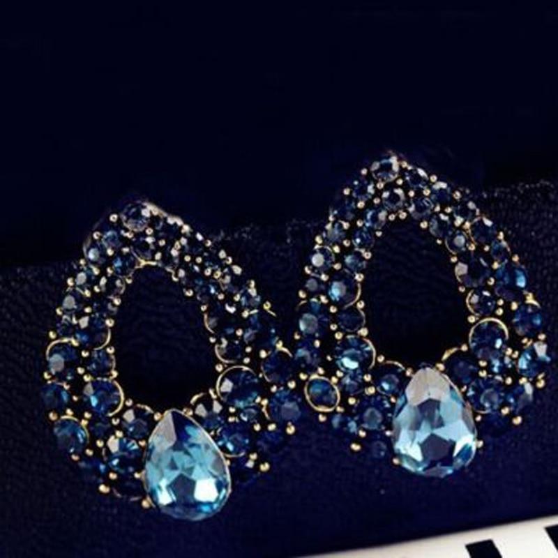 Klassische Blaue Strass Luxus Ohrring Frauen Kleid Party - Modeschmuck - Foto 3