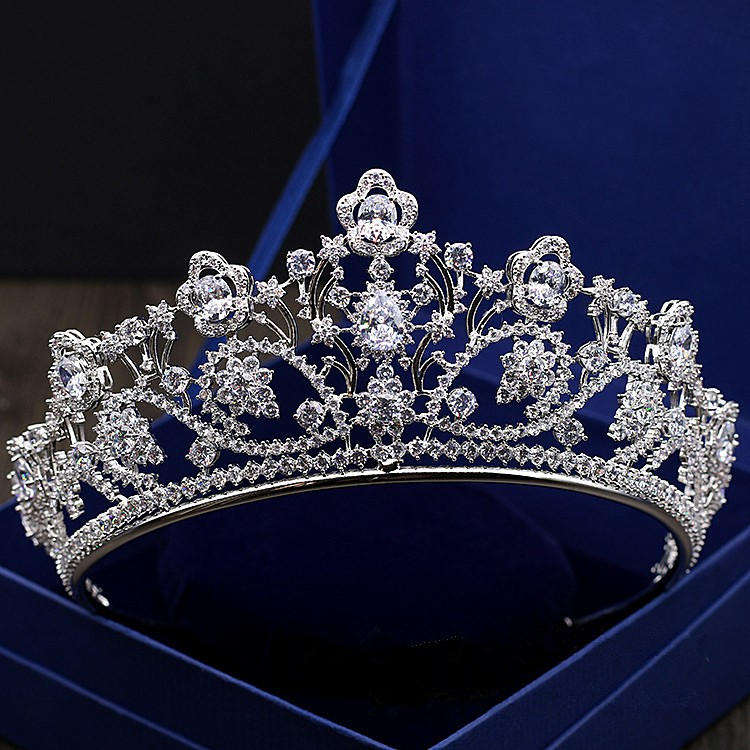 Jonnafe White Gold Bridal Hairband Full Cubic Zirconia Tiara Wedding Hair Crown Accessories Princess Party Prom Crowns baby hairband crystal tiara hairband kid girl bridal princess prom crown party accessiories princess prom crown headband