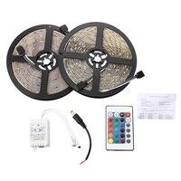 Waterproof 2x5M 10M 5050 SMD 300 RGB LED Light Lamp Flexible Strip Ribbon 24 Key Colours