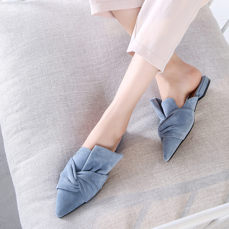 MCCKLE Women Slippers Flock Bowtie Female Mules Fashion Low Heels Shoes Pointed Toe Ladies Plus Size Elegant Woman Slipper