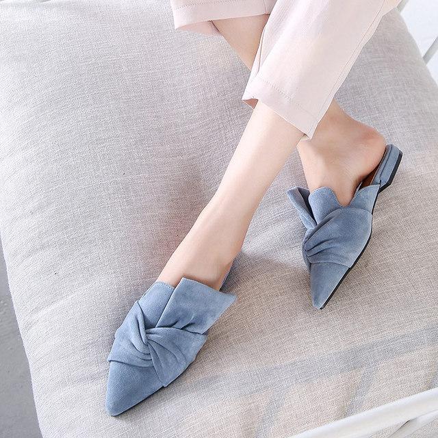 MCCKLE Women Slippers Flock Bowtie Female Mules Fashion Low Heels Shoes Pointed Toe Ladies Plus Size Elegant Woman Slipper 3
