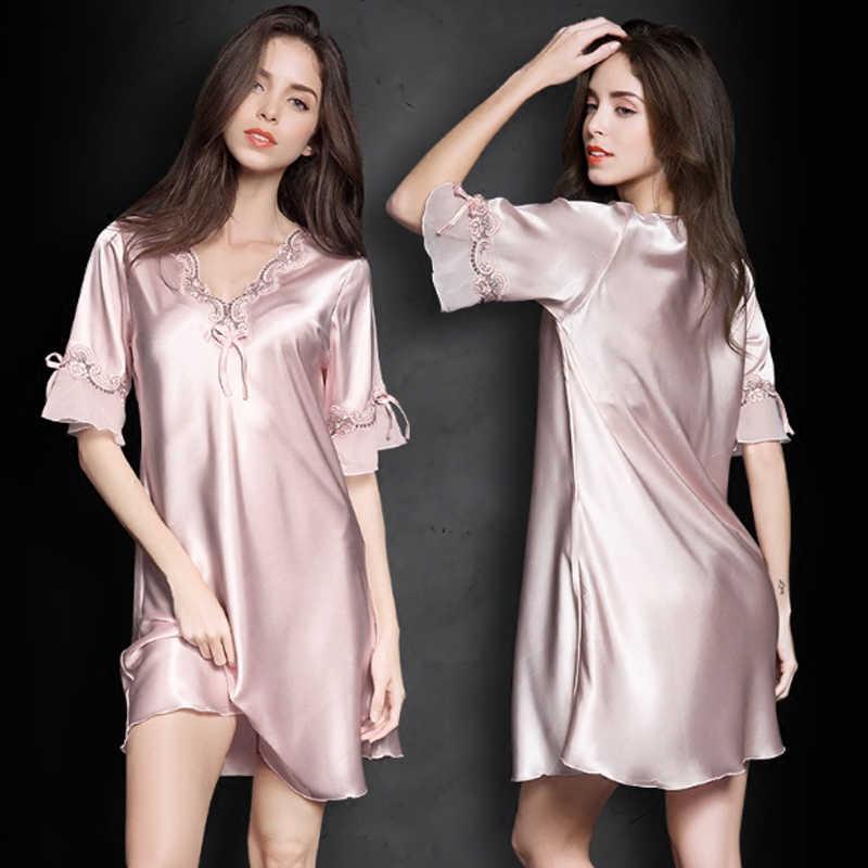ce48b10175 Women Sexy Silk Satin Nightgown Short Sleeve Sleepshirt Lace Nightdress  V-Neck Sleeping Dress Summer