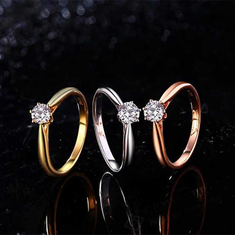 สไตล์แฟชั่นคริสตัล Zircon แหวนหญิงเงินทองสีงานแต่งงานเครื่องประดับแหวนหมั้นสำหรับสุภาพสตรี