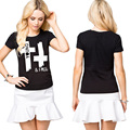 Wholesale Black Woman tshirt Cross Letter Print Cotton brand new Women Short-sleeve Round Neck Wear Womens Basic shirts Tee Tops