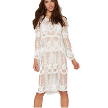 Summer Beach White Dresses Women Long Casual White Lace Sexy See Through Embroidery Holiday Dress Long Sleeve Floral Vestidos(China)