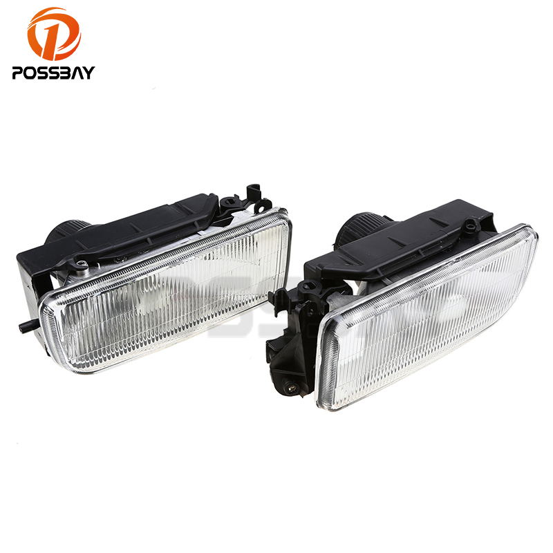 POSSBAY Car Front Bumper Fog Lights Clear Lens Cover Replacement for BMW E36 3-Series 1990-2000 Without Bulbs Car Styling pair car front headlamp clear lens headlight plastic shell clear cover for bmw e90 e91 2004 2005 2006 2007