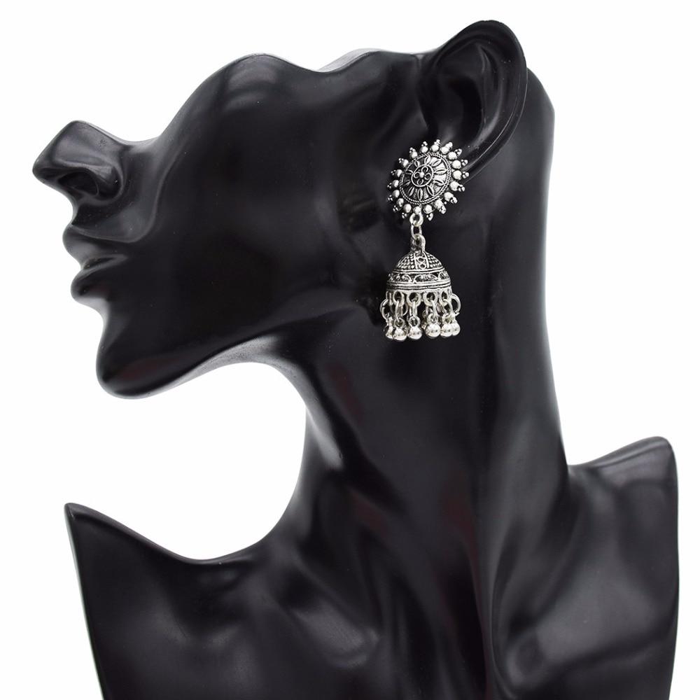 Gypsy Afghan Jewelry Retro Ethnic Silver Indian Jhumka Small Bells Beads Drop Tassel Earrings for Women Bohemian Pendiente Gift 4