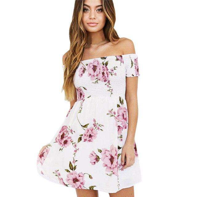 8a65f9679534 Women Dress 2018 Summer Sexy Off Shoulder Floral Print Chiffon Dress Boho  Style Short Party Beach Dresses Vestidos de fiesta