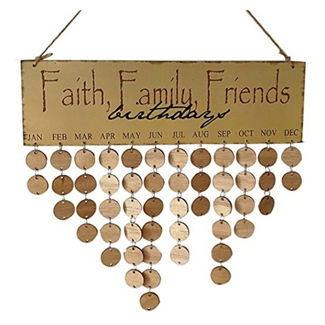 faith family friend diy wooden wall hanging decor birthday calendar
