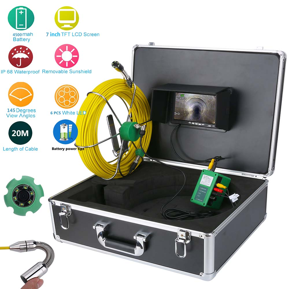 50 M 40 M 30 M 20 M Tuyau de Vidange des Égouts D'inspection Vidéo Caméra 7 LCD Affichage 1000TVL LEDs Nuit Vision Endoscope HD Vidéo Caméra