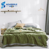 Fashion Solid Color Cotton Bed Quilt Washable Quilted Adult Polyester Fiber Filling Air Conditoning Green Duvet Summer Quilt