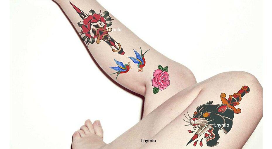 17 School Tattoo sword Panther leopard swallow bird tattoo sticker body art sticker 13