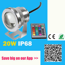 16 Colors 20W 12V RGB LED Underwater Fountain Light 1000LM Swimming Pool Pond Fish Tank Aquarium LED Light Lamp IP68 Waterproof(China)