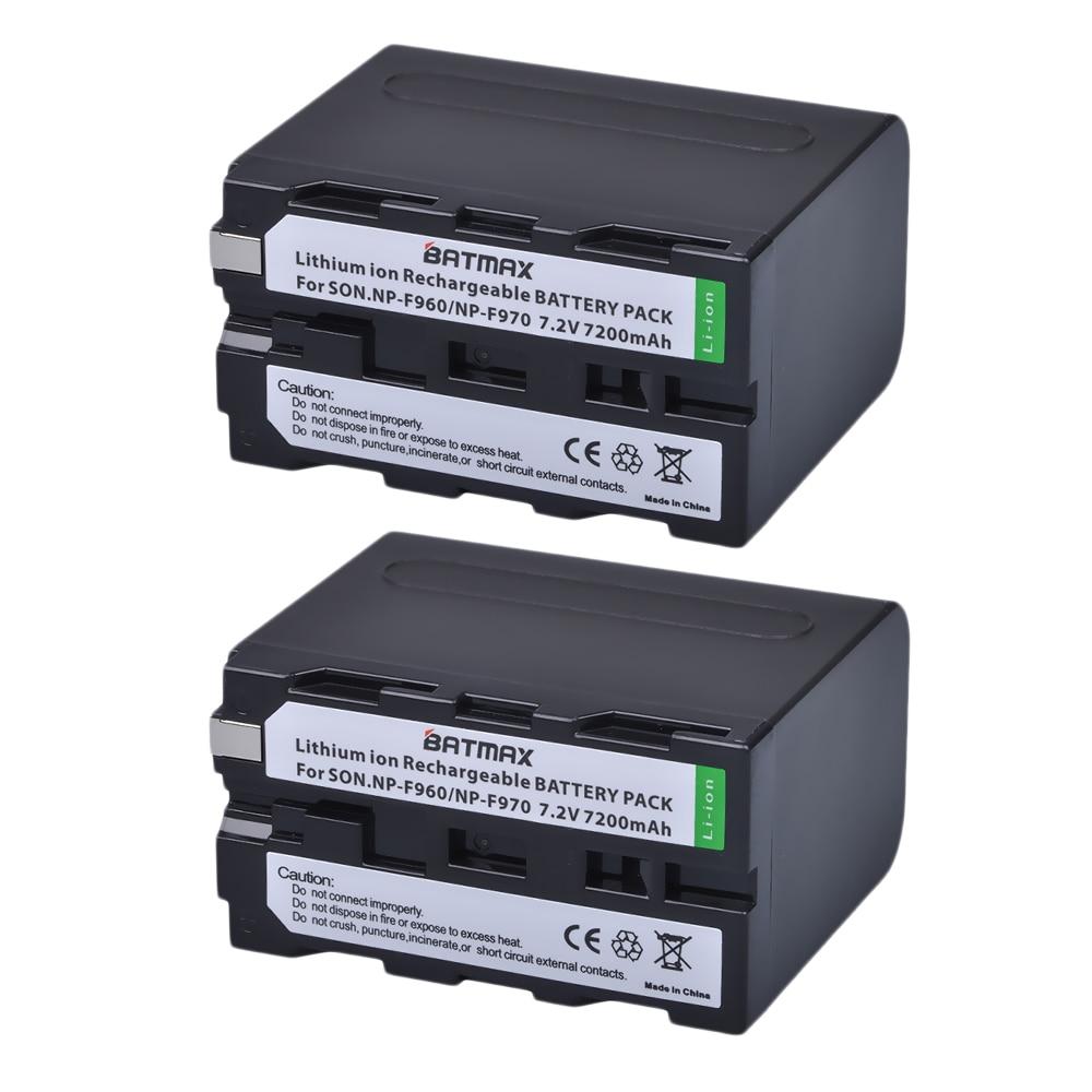 Hot Sale 2pcs Np F970 Rechargeable Battery 7200mah Npf970 Sony Camera Batteries For Mc1500c 190p 198p F950 Mc1000c Tr516 Tr555