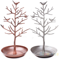 Vintage Bird Tree Stand Jewelry Earring Necklace Ring Show Rack Holder Display Jewelry Holder B13 027M