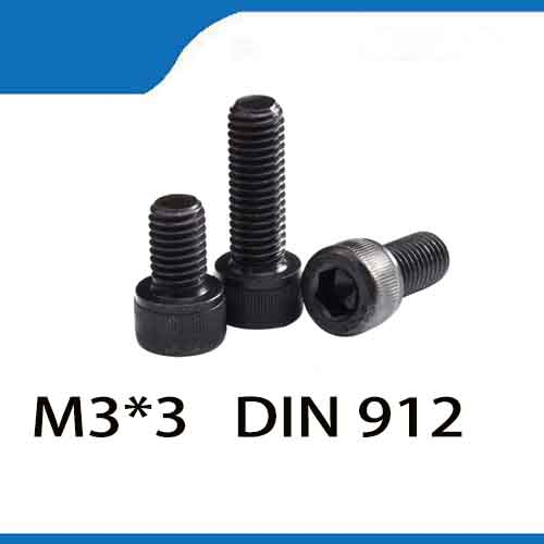 Free shipping 100pcs/Lot M3*3 M3X3mm Fully Threaded Black Hex Socket Cap Head Screw Bolt Fastener Set 5 pcs hex socket cap fastener bolt screw 5 32 x 63 64