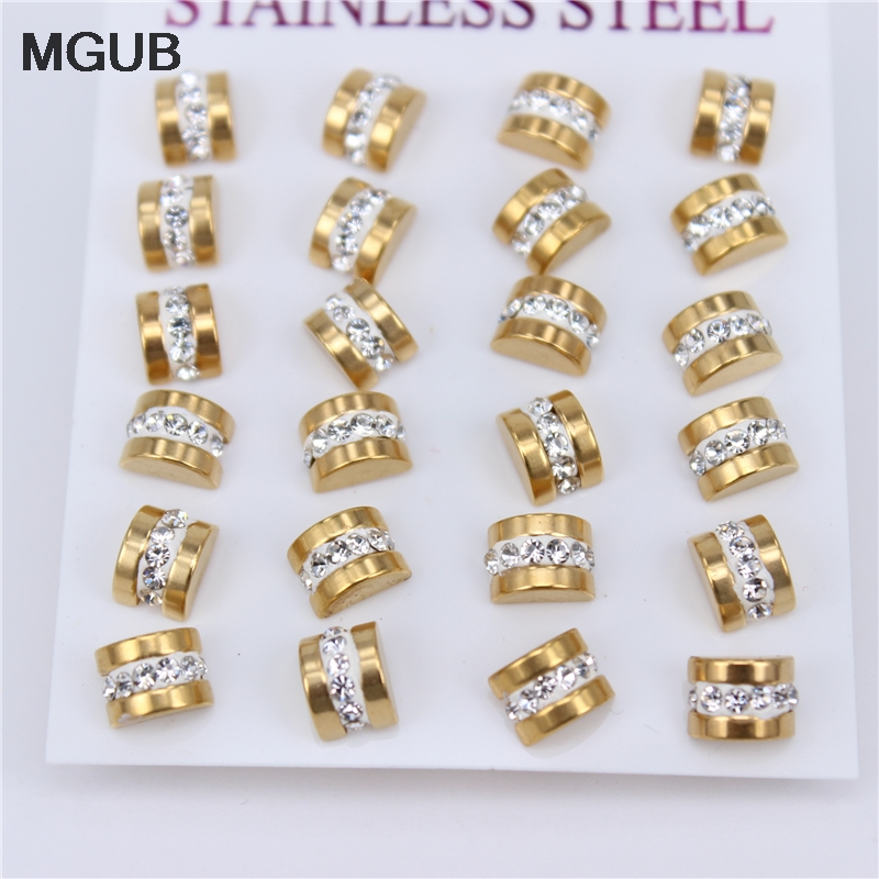 MGUB Special new products 12 Pairs Male and female stainless steel earrings Do not fade Mud crystal Various places to wear JX35