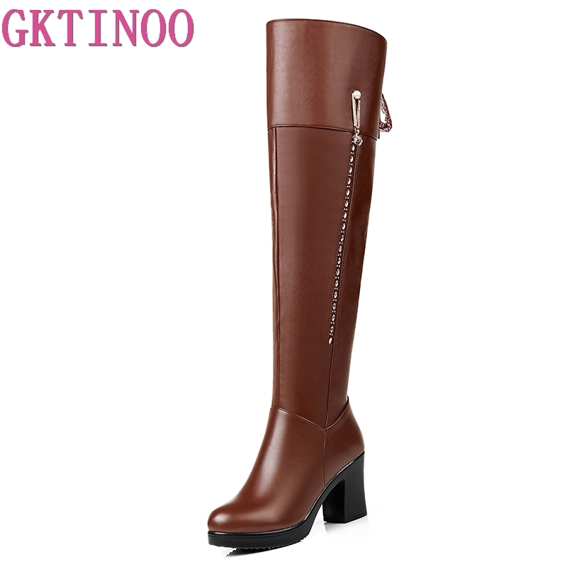 GKTINOO Thick Heels Shoes Woman Winter Fur Boots Over The Knee Women Boots Soft Leather Women Boots Thigh High Winter Warm Shoes недорого
