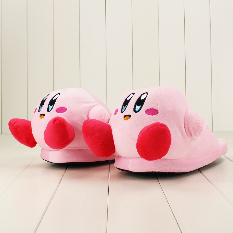 32cm Anime Cartoon Cute Kirby Pink Plush Slippers House Winter Warmer Indoor Shoes Girls Soft Stuffed Toys Gifts