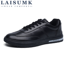 2019 LAISUMK Luxury Brand Men Shoes Leather Casual Black Mens Krasovki Spring Autumn Lace Up Tenis Fashion Sneakers