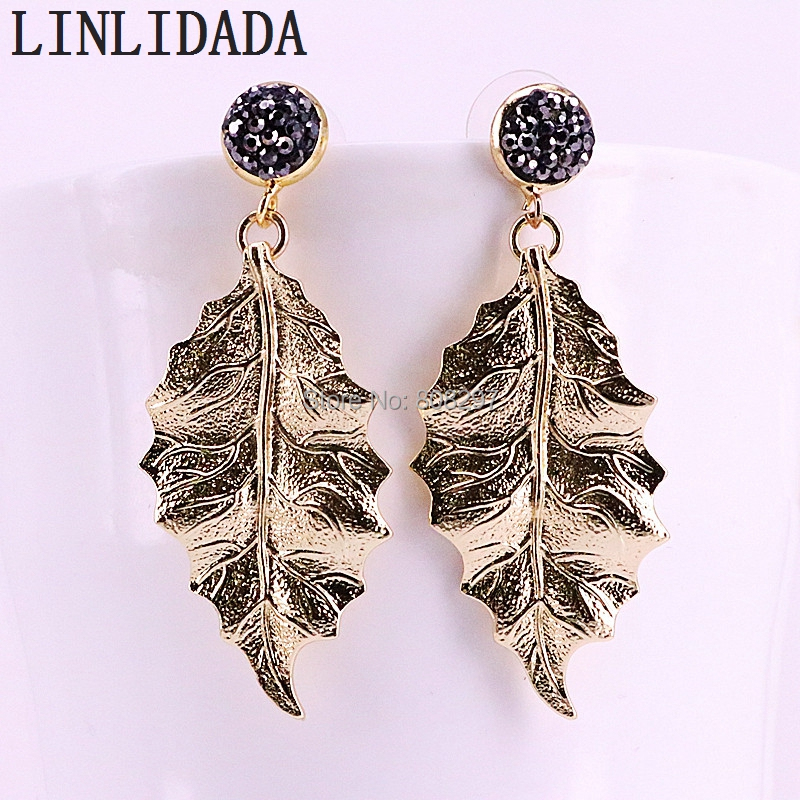 10Pair Trendy Leaf Shape Drop Dangle Earrings Fashion Gold Color Metal Jewelry For Women Gift