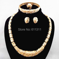 Top Quality Fashion African Wedding Gold Jewelry Sets Necklace Bangle Ring Earrings Jewelry Set For Brides