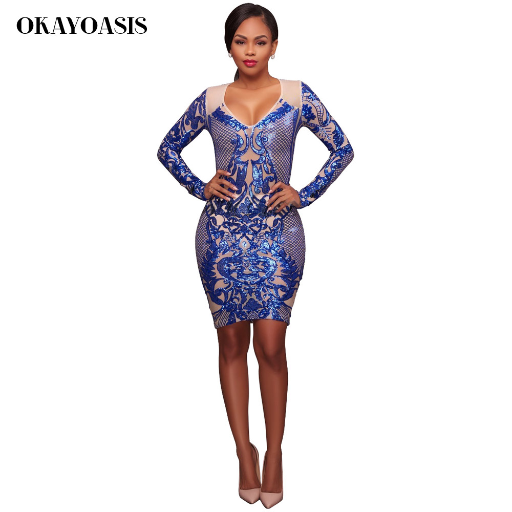 Womens Sexy Bandage Vintage Dresses Party Night Club Dress Sexy Royal Blue  Party Dress Geometric Pattern Sequin Bodycon Dress-in Dresses from Women s  ... 7793ab1564de