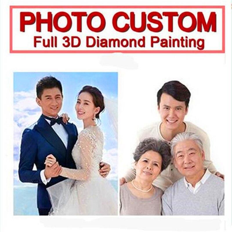 5D Diy Diamond живописи! Сделать свой собственный С алмазами, с изображением пользовательские фото! Частный заказ! Полный горный хрусталь вышивка....