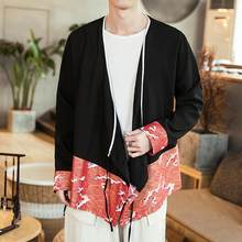 2019 New Chinese Style Crane Wave Print Casual Cardigan Coat Men's Belt Jackets Harajuku Long Sleeve Outerwear QT2014-SY01(China)