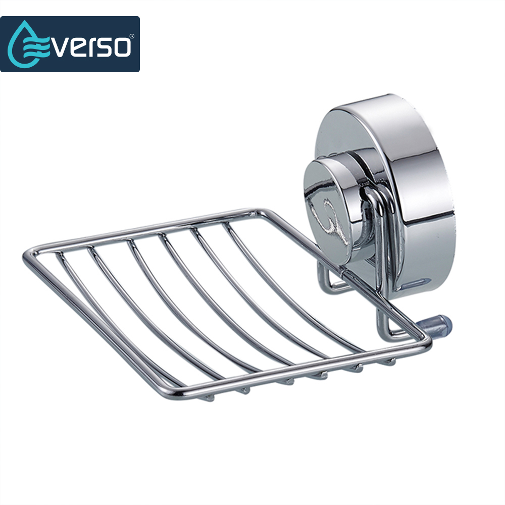 EVERSO Stainless Steel Strong Suction Bathroom Soap Holder Shower Soap Dish Holder Shower Tray Bathroom Accessories european black bronze soap network soap dish basket ceramic plate holder wall mounted bathroom accessories hardwares