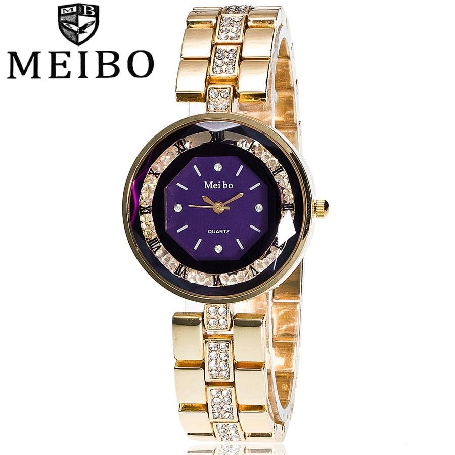 MEIBO Luxury Brand Fashion Crystal Gold Bracelet Watch Women Casual Quartz Watch Ladies Business Watch Montre