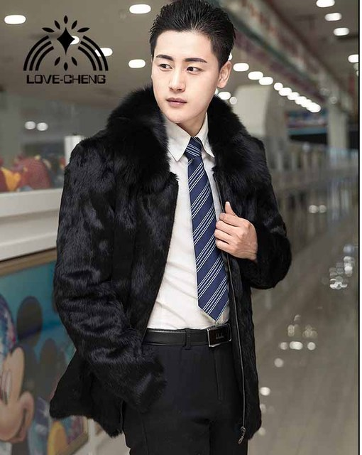 97529e29f8980 US $99.0 45% OFF New real genuine natural rabbit fur coat with fox fur  collar men fashion jacket outwear overcoat custom any size-in Jackets from  ...