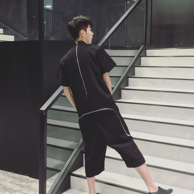 dc8b4860fb36 Hip Hop Punk mens jumpsuit Fashion Black Rompers Back Zipper Loose Harem  Pants cargo trousers breeches long pants overalls