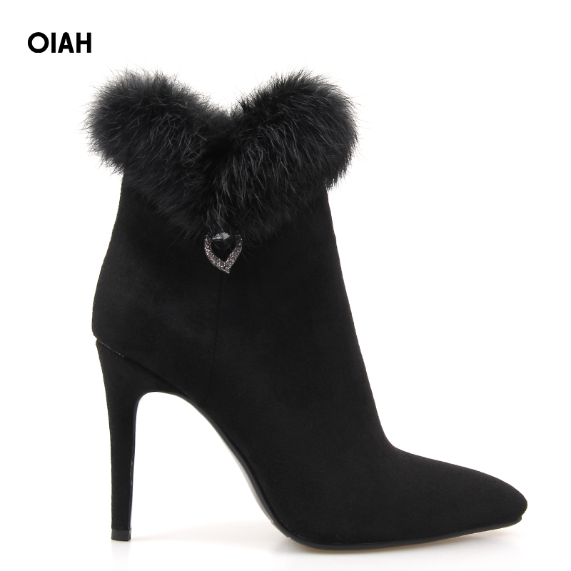 Ankle Fashion Boots Women Winter Boots Winter Fashion Pointed Toe Knitting PU Square Heel High Heel Fur Thin Heel Boots women ankle boots pu super high heel pointed toe boots winter autumn boots warm fur big size square heel ankle boots