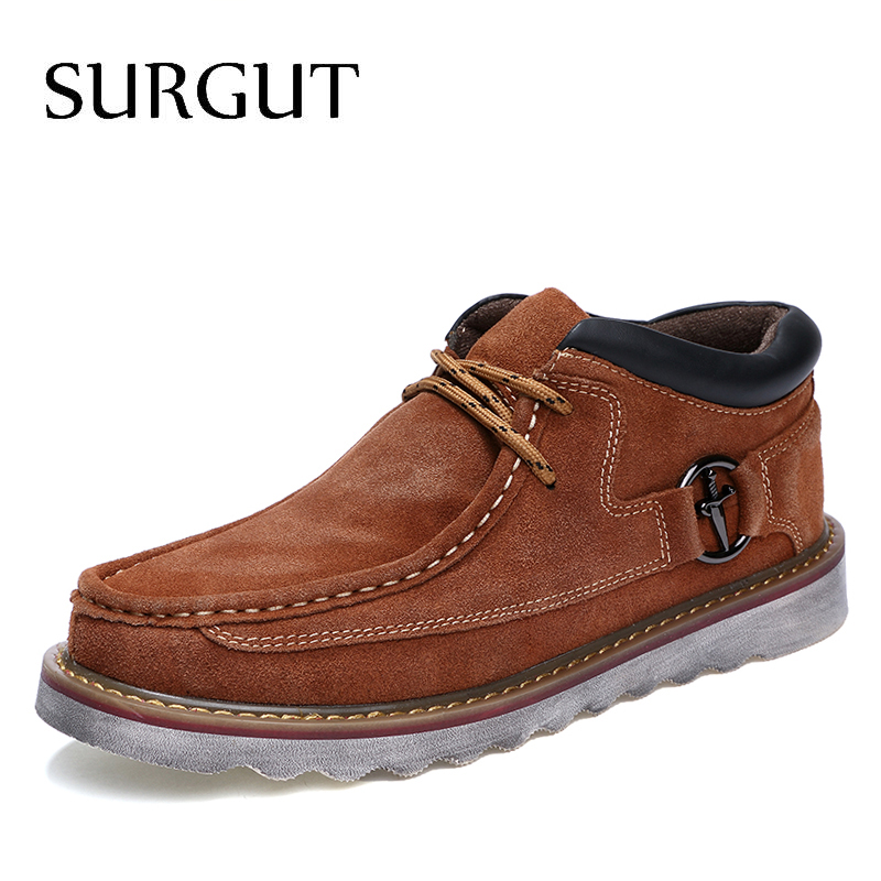 SURGUT Brand Cow Suede Leather Fashion Autumn Winter Men Boots 2020 Casual Men Ankle Boots Comfortable High Quality Men Boot